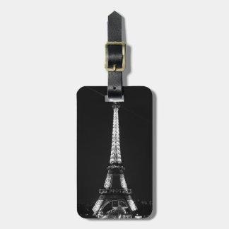 Black & White Eiffel Tower Paris Night Bag Tag
