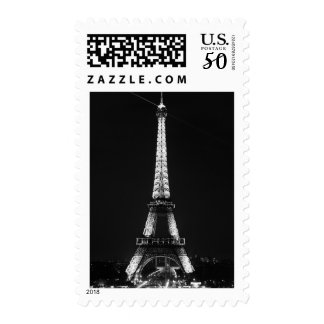 Black & White Eiffel Tower Paris Night Postage