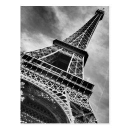 Black & White Eiffel Tower Paris Postcard