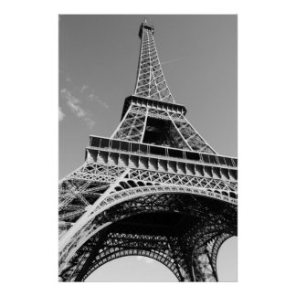 Black & White Eiffel Tower Paris Romance City Poster