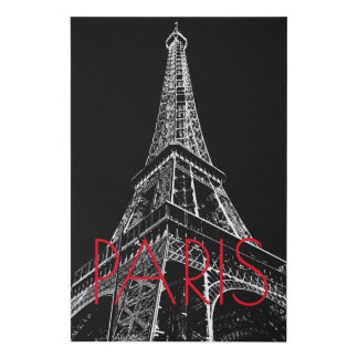 Black White Eiffel Tower Paris Romantic Love City Faux Canvas Print