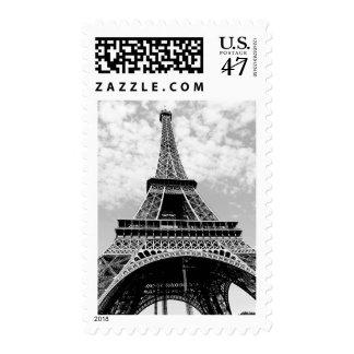 Black White Eiffel Tower Paris Travel Postage