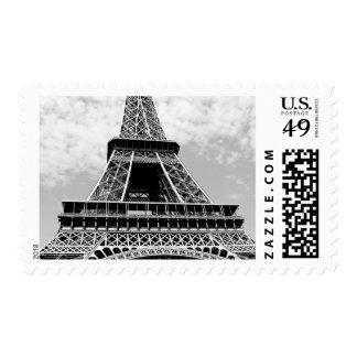 Black White Eiffel Tower Paris Travel Postage Stamp