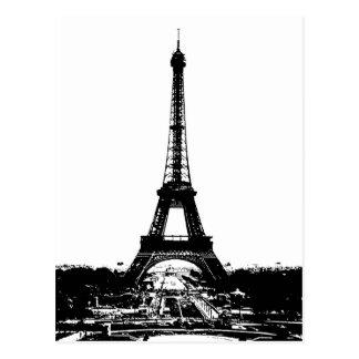 Black & White Eiffel Tower Postcard
