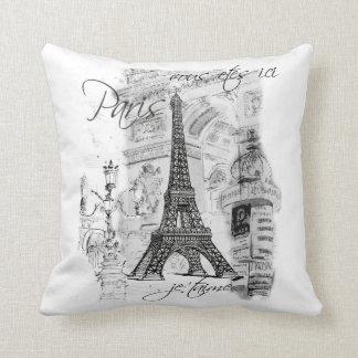 Black & White Eiffel Tower Scene Throw Pillow