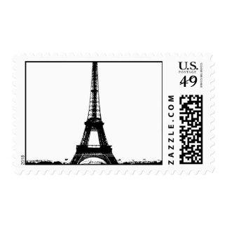 Black & White Eiffel Tower Silhouette Postage