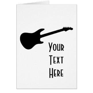 Black & White Electric Guitar Silhouette Card