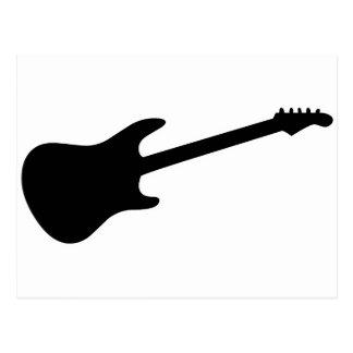 Black & White Electric Guitar Silhouette Postcard
