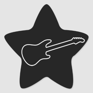 Black & White Electric Guitar Silhouette Star Sticker