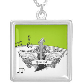 Black white electric guitar wings on lime green square pendant necklace