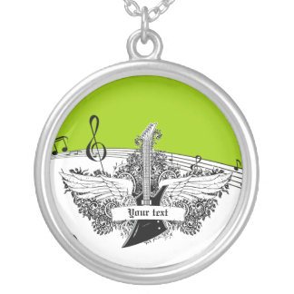 Black white electric guitar wings on lime green pendant