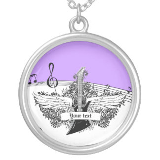 Black white electric guitar wings on purple pendants