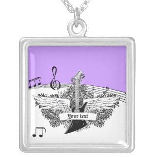 Black white electric guitar wings on purple pendant