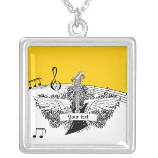 Black white electric guitar wings on yellow custom jewelry