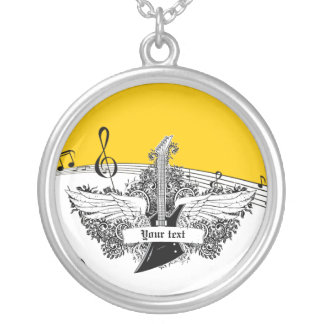 Black white electric guitar wings on yellow round pendant necklace