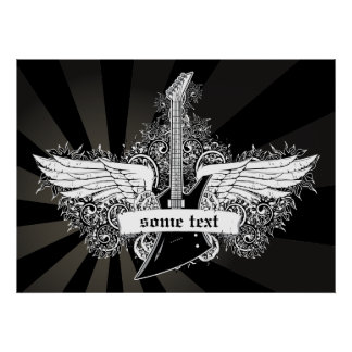 Black white electric guitar wings poster