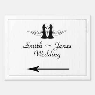 Black White Elegance Brides Wedding Direction Sign