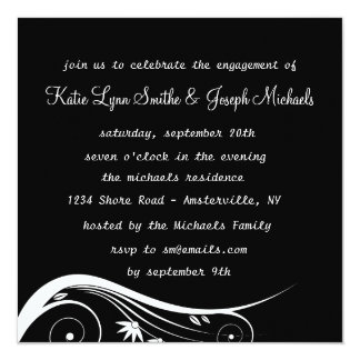 Black & White Elegance Engagement Party  Invitatio Card