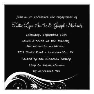 Black & White Elegance Engagement Party  Invitatio Custom Invitations