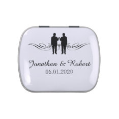 Black White Elegance Grooms Gay Wedding Tins Jelly Belly Candy Tins at Zazzle