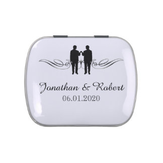 Black White Elegance Grooms Gay Wedding Tins Jelly Belly Candy Tins