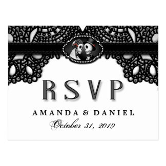 Black White Elegance Halloween Skeleton MENU RSVP Postcard