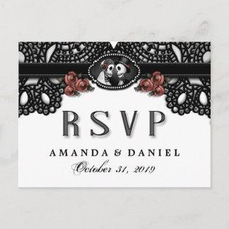 Black White Elegance Halloween Skeletons RSVP Invitation Postcard