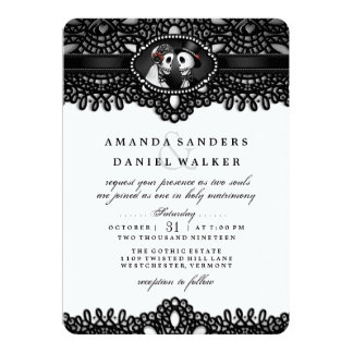 Black White Elegance Skeletons Wedding Invitation