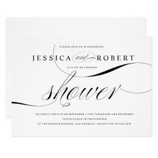 Black & White Elegant Couples Shower Card