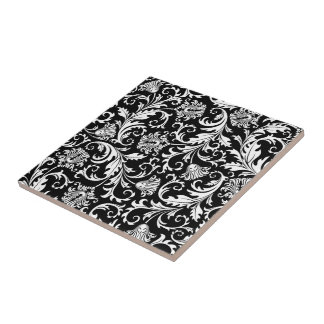 Black & White Elegant Floral Damask  Pattern Ceramic Tile