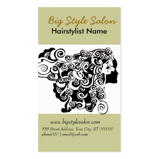 Black White Elegant Flowing Hair Spa Salon Stylist Business Card