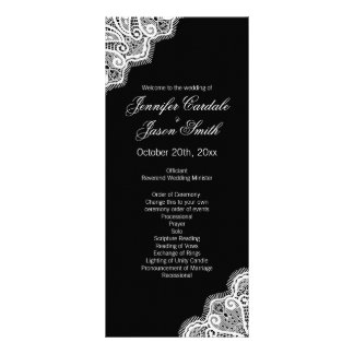 Black White Elegant Lace Vertical Wedding Programs Custom Rack Cards