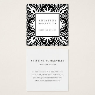 Black & White | Elegant Moroccan Style Square Square Business Card
