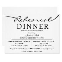 black white Elegant Script Rehearsal Dinner Invite