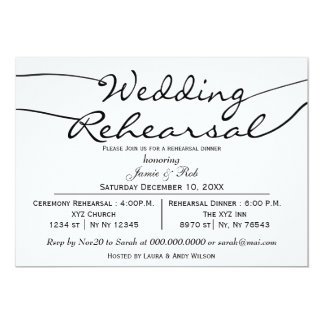 black white Elegant Script Rehearsal Dinner Invite