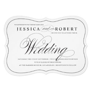 Black & White Elegant Script Wedding Invitation Cards