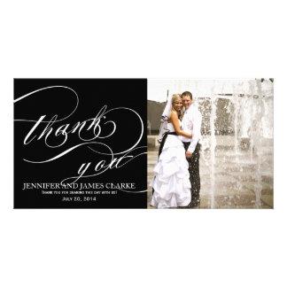 Black White Elegant Script Wedding Thank You Photo Card