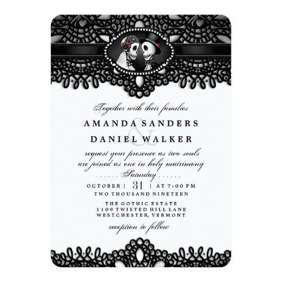Black White Elegant Skeleton Wedding Together With Invitation