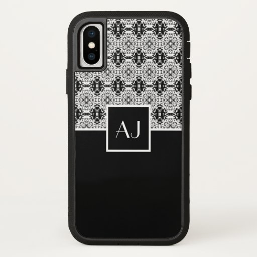Black white elegant vintage French style monogram iPhone X Case