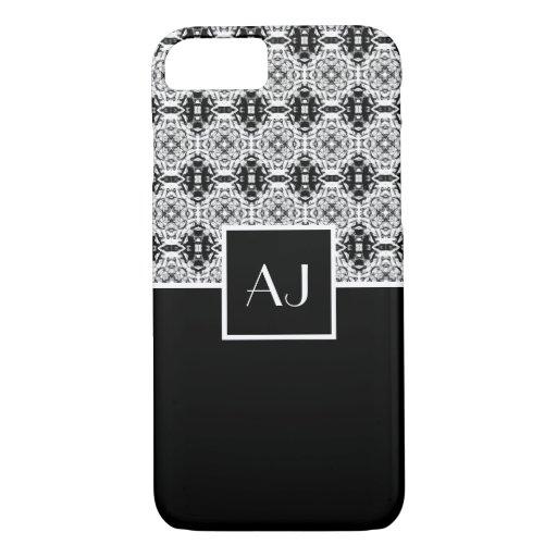 Black white elegant vintage French style monogram iPhone 8/7 Case