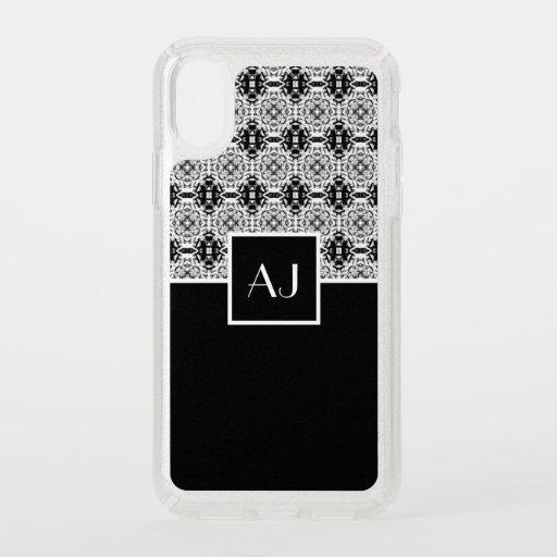 Black white elegant vintage French style monogram Speck iPhone X Case