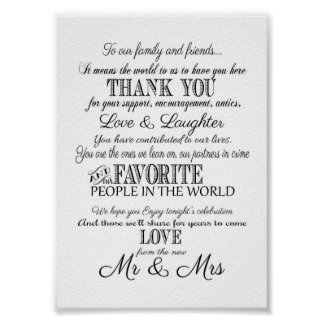 Black & white Elegant wedding Thank you sign print