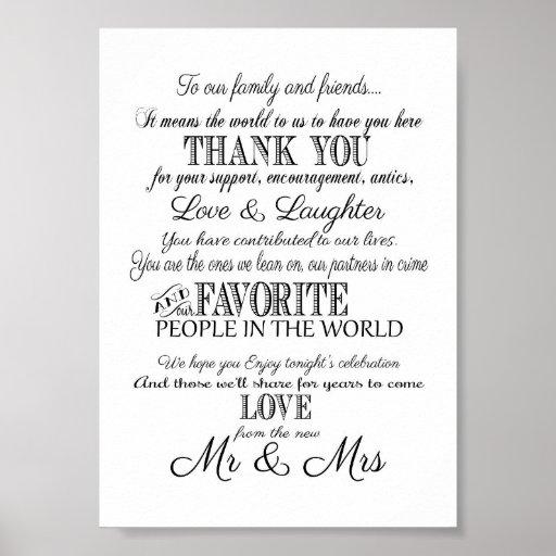 Black White Elegant Wedding Thank You Sign Print