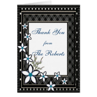 Black & White Elegant with Pale Flowers Wedding Stationery Note Card