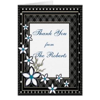 Black & White Elegant with Pale Flowers Wedding Card