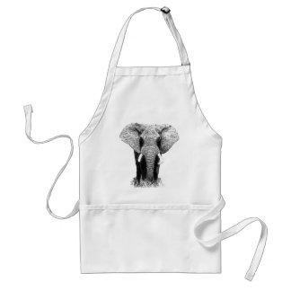 Black & White Elephant Adult Apron