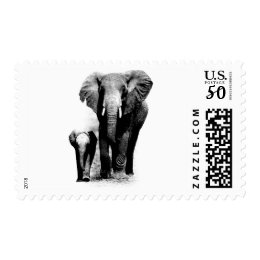 Black & White Elephant Family Postage Stamps