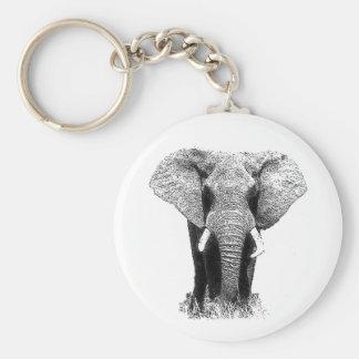 Black & White Elephant Keychain