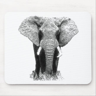 Black & White Elephant Mouse Pad
