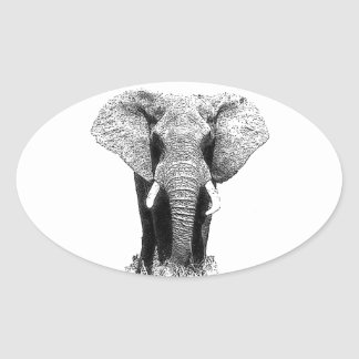 Black & White Elephant Oval Sticker